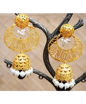 Matte Gold Chand Jumka with Onyx Drop Dangler Earrings