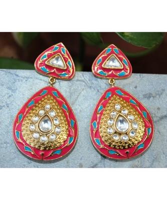 Pink Enamel Polki Diamond Dangler Earrings