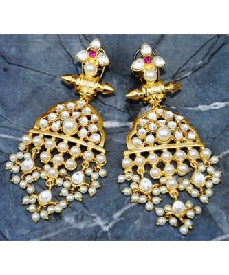 Royal Kundan Pearl Gold Dangler Earrings