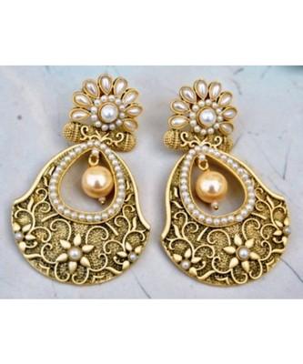 Antique Pearl Flower Dangler Earrings