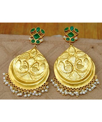 Carved Peacock Green Onyx Dangler Earrings