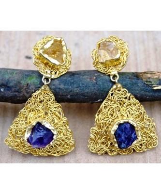 Meshed Gold Raw Agate Dangler Earrings