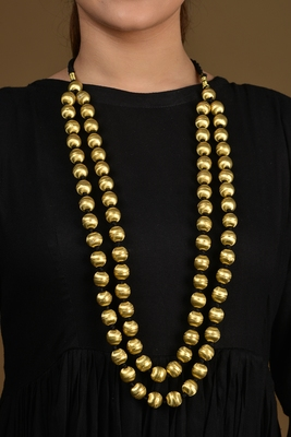 Gold Shell Beaded long Necklace