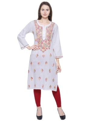 White embroidered cotton chikankari kurti