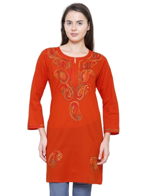 Orange embroidered cotton chikankari kurti