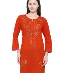 Orange embroidered cotton chikankari kurti