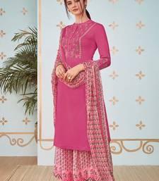Magenta resham embroidery cotton salwar