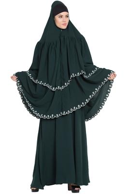 Green plain georgette abaya