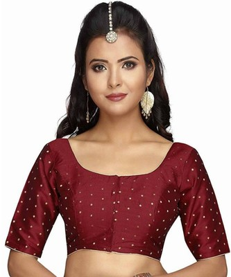 Maroon Plain Art Silk Designer Blouse