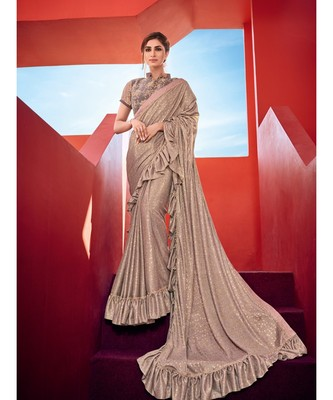 golden embroidered taffeta saree with blouse