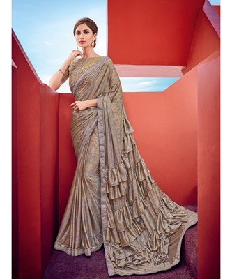 multicolor embroidered taffeta saree with blouse