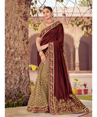 maroon embroidered satin saree with blouse