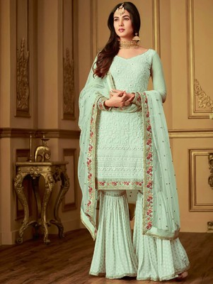 Light Green Designer Embroidery Work Sharara Suit Zoharin 2892444,Mint Green Combination Color