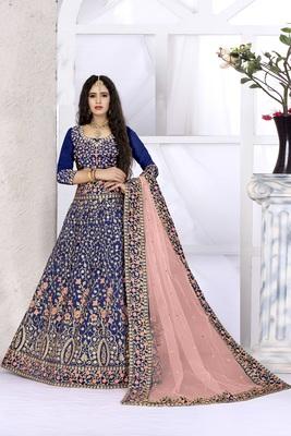 Blue embroidered silk semi stitched lehenga with dupatta
