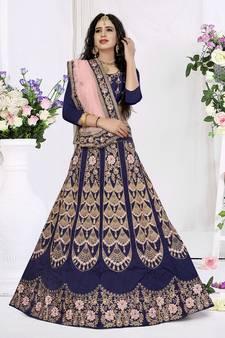49876b7b26b7d Blue embroidered silk semi stitched lehenga with dupatta. Shop Now