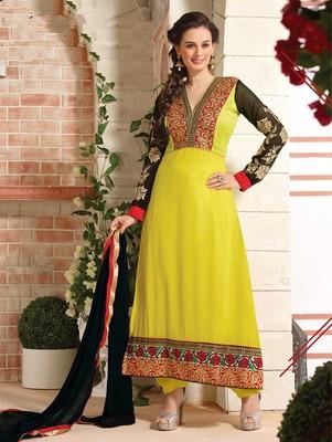Light Yellow Designer Straight Suit
