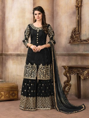 Black Designer Embroidery Work Sharara Suit