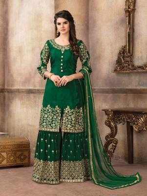 Green Designer Embroidery Work Sharara Suit
