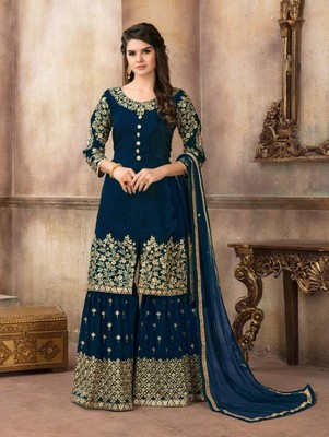 Blue Designer Embroidery Work Sharara Suit