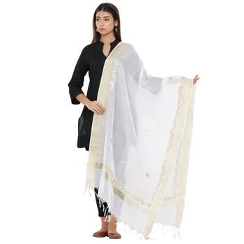 White Chanderi Gota Patti dupatta