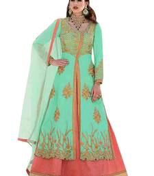 Sea-green embroidered bhagalpuri silk salwar