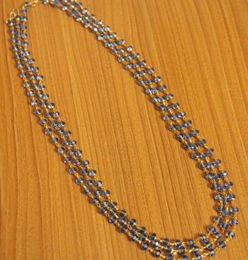 Blue Swarowski Crystal 3 Line Necklace Set