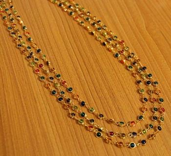 3 Line Multicolour Fine Gold Plated Necklace Set