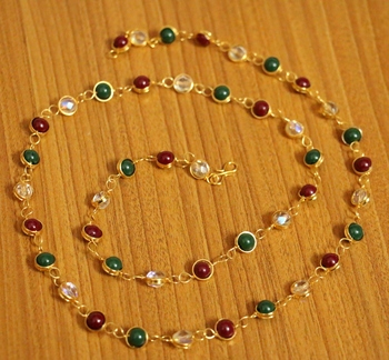 Multicolour Gold Plated Single Line Necklace