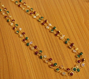 Multicolour Gold Plated 2 Line Necklace