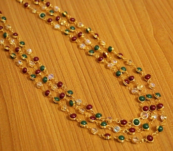 Multicolour Gold Plated 3 Line Necklace