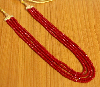 4 Line Ruby Colour Multi String Necklace