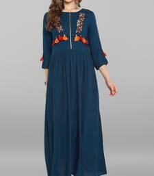 Turquoise embroidered rayon kurta