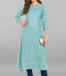 Sea-green plain cotton kurta