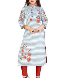 Sky Blue Color Cotton Fabric Embroidery Work Kurti For Women