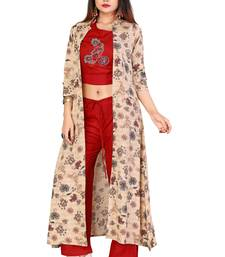 Maroon Color Rayon Fabric Print And Embroidery Work Kurti With Plaazo Set For Women