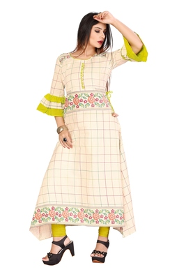 Off White Color Cotton Fabric Weaving Kurti For Women