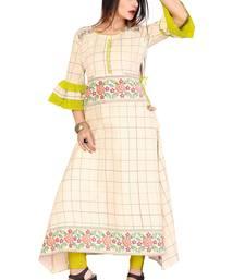 Off White Color Cotton Fabric Weaving Kurti For Women