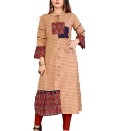 Brown Color Cotton Fabric Print And Hand Work Kurti For Women