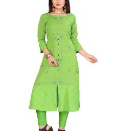 Parrot Green Color Cotton Fabric Embroidery And Weave Kurti For Women