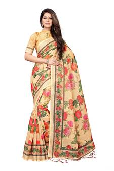 b3ba71635d2841 Beige printed linen saree with blouse. Shop Now