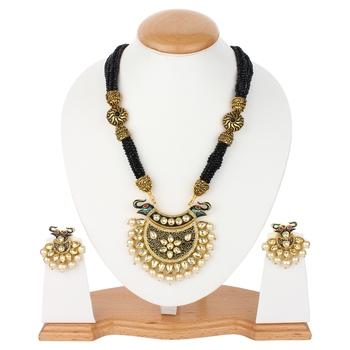 Black Jaipuri Onyx Necklace Sets