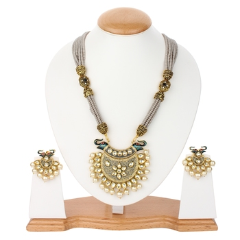 Grey Jaipuri  Onyx Necklace Sets
