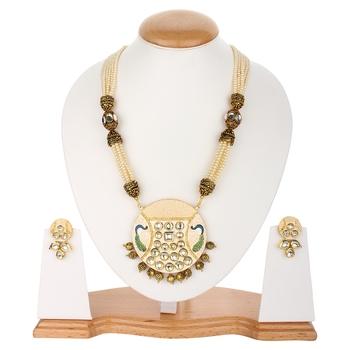Beige Jaipuri Pearl Necklace Sets