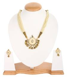 Royal Beige Color Peacock Kundan  Onyx Necklace Sets