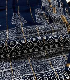blue Block Printed Silk Chanderi Saree With Blouse