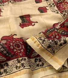 Beige Block Printed Silk Chanderi Saree With Blouse