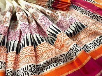 White Block Printed Handloom Maheshwari Silk Saree With Blouse