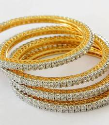 Buy SINGLE LINE BIG STONE SETTED 4 PICS ZERKON STONES BANGLES bangles-and-bracelet online