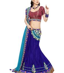 Blue Embroidered Net Saree With Blouse
