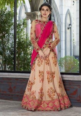 Peach embroidered silk semi stitched lehenga with dupatta